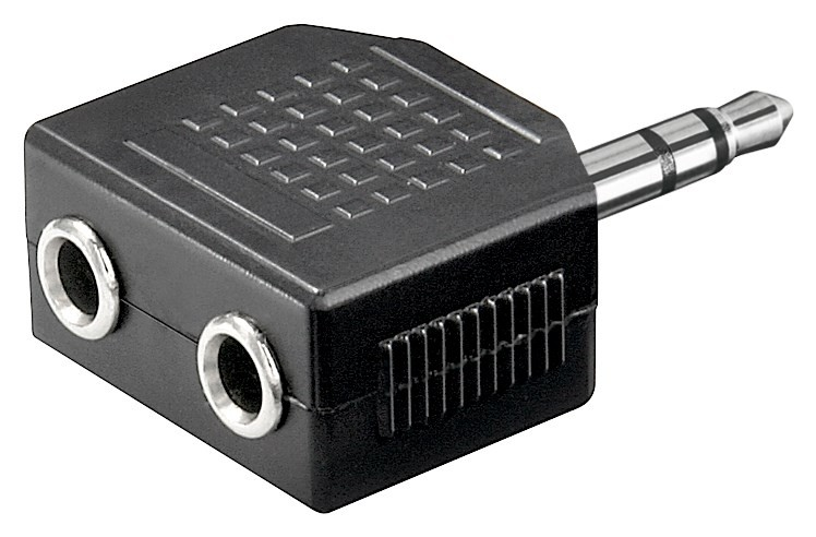 071370  Adaptador 3,5mm M 3-pin ST a 2x6,3mm H 3-pin ST Compacto