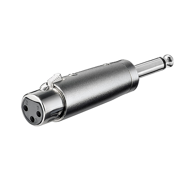 27451  Adaptador audio XLR 3 pin H a Jack 6.3 mm mono M