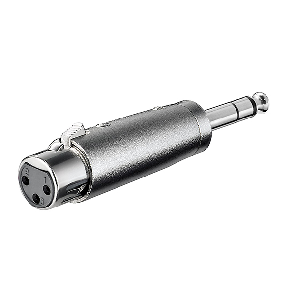 27514  Adaptador audio XLR 3 pin H a Jack 6.3 mm stero M
