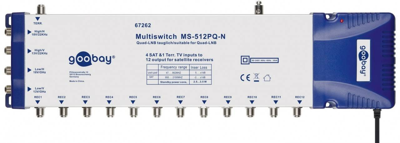 67262  SAT-Multi Switch 5 in 12 out, Enrutador para 12 Dispos. max.