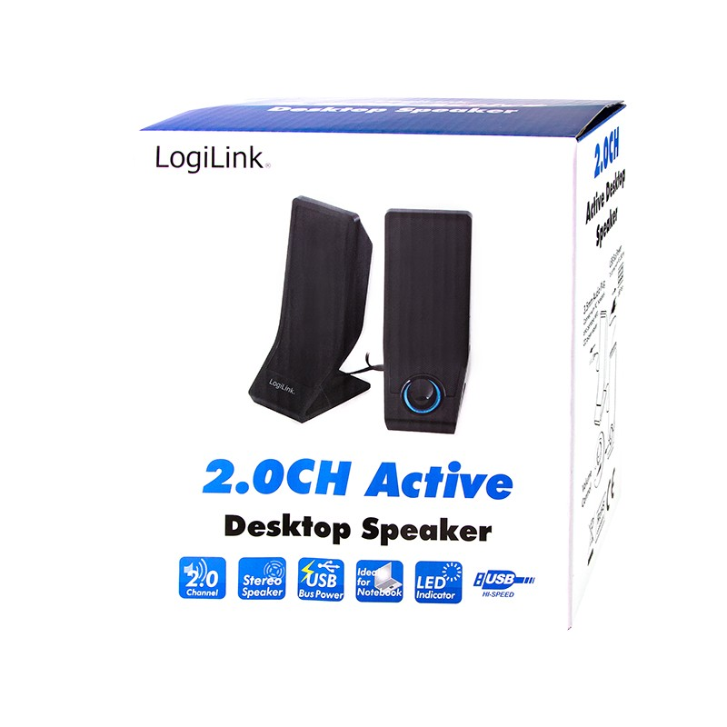 SP0027  Altavoces Active 2.0 Stereo, 2x1W Negro Logilink